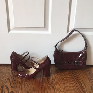 Burgundy patent leather pumps/matching handbag